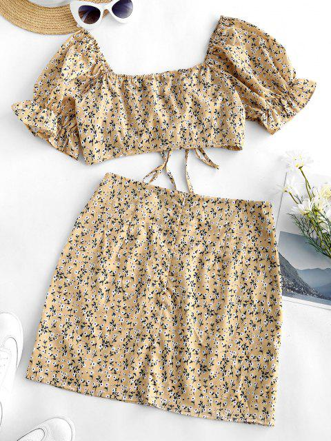 women Cinched Ditsy Floral Sweetheart Two Piece Dress - LIGHT YELLOW L Mobile