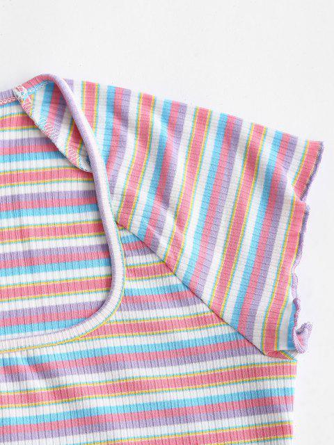 shops Rib-knit Colorful Striped Lettuce Trim Baby Tee - MULTI M Mobile