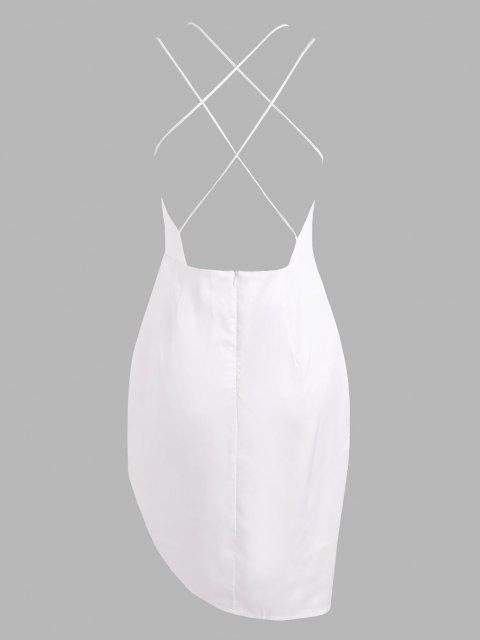 trendy Silky Satin Cinched Ruched Crisscross Backless Slinky Dress - WHITE S Mobile