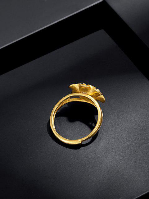 Bague Ouverte en Forme de Fleur Gravée Superposée - d'or  Mobile