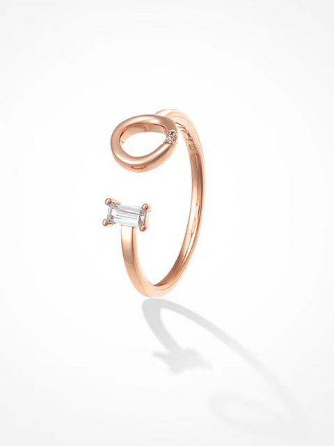women's Geometric Rhinestone Opening Ring - ROSE GOLD  Mobile