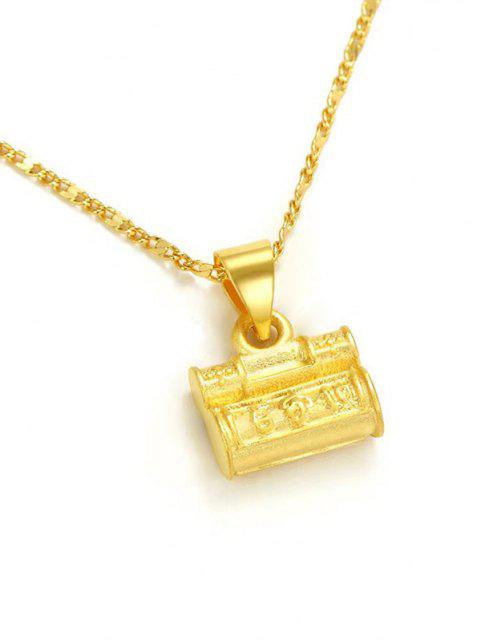 new Retro Carved Lock Pendant Necklace - GOLDEN  Mobile