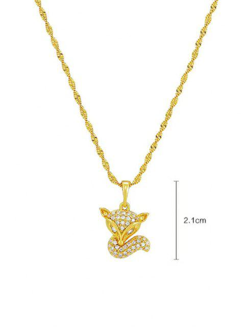 Collier Renard Pendant en Zircon - d'or  Mobile