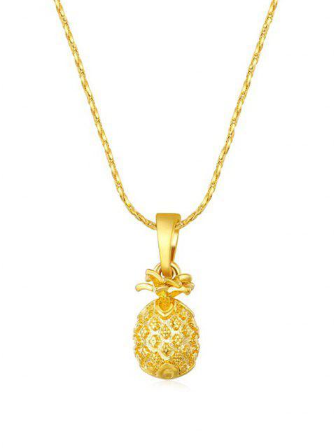Collier avec Pendentif Ananas Sculpté - d'or  Mobile