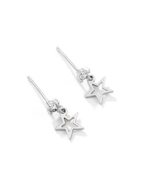 online Hollow Star Pendant Zircon Stud Drop Earrings - SILVER  Mobile