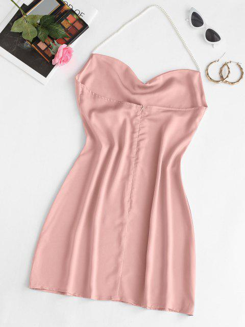 hot Faux Pearl Halter Mini Party Dress - LIGHT PINK S Mobile