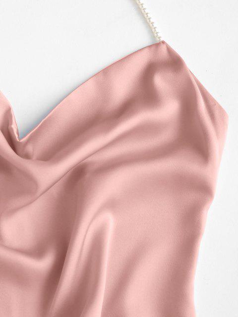 Party Mini Abito da Ballo con Halter e Perle Finte - Rosa chiaro L Mobile