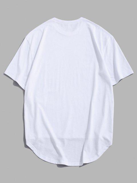 best Zipper High Low Short Sleeve Drop Shoulder T-shirt - WHITE L Mobile