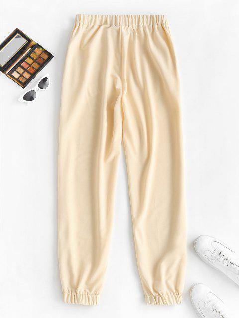 online Slogan Graphic Pocket Drawstring Joggers Pants - LIGHT YELLOW S Mobile