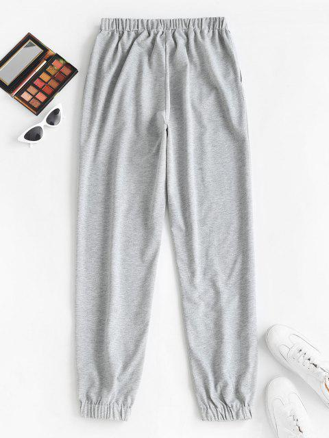 outfits Slogan Graphic Pocket Drawstring Joggers Pants - LIGHT GRAY S Mobile