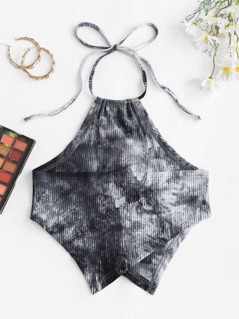 Top Corto di Tie-Dye a Costine - Nero M Mobile