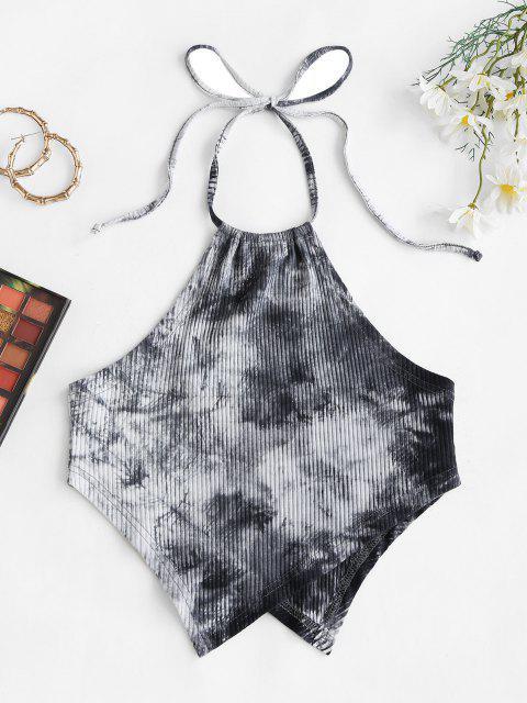 shops Scarf Ribbed Tie Dye Crop Top - BLACK S Mobile