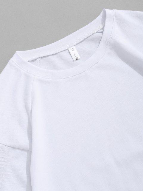 T-Shirt Strappata a Blocchi di Colore con Maniche Corte - Bianca L Mobile