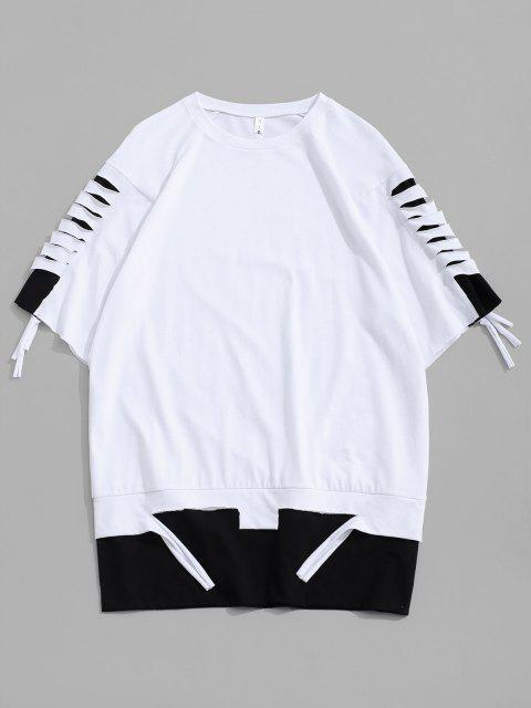 Ripped Colorblock Short Sleeve T-shirt - أبيض L Mobile