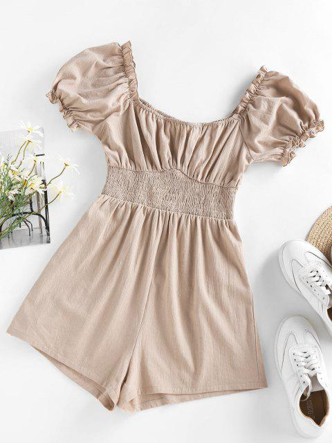 chic ZAFUL Ruffle Smocked Puff Sleeve Wide Leg Romper - LIGHT COFFEE S Mobile