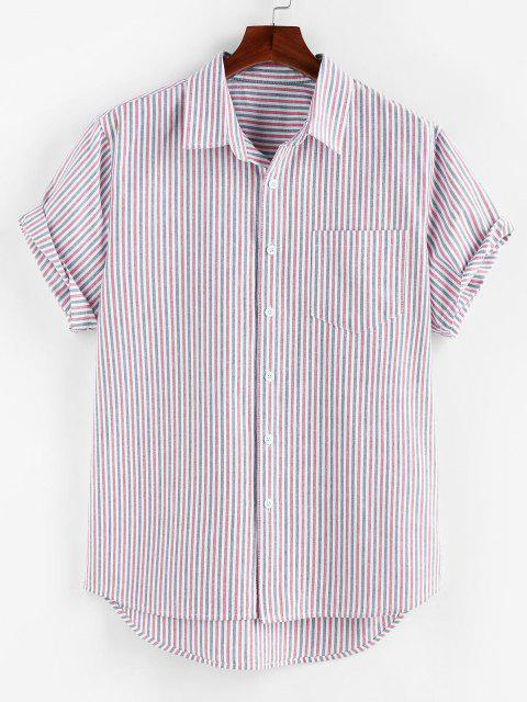 ZAFUL Hoher und Niedriger Kurzarm Hemd mit Streifenmuster - Flieder L Mobile