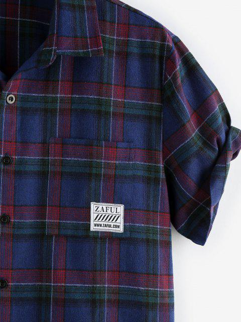 ZAFUL Kariertes Hemd mit Kurzen Ärmeln und Tasche - Kadettenblau L Mobile