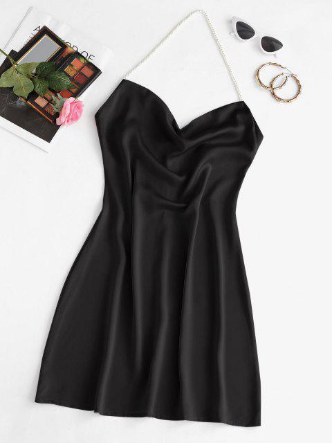 Mini Vestido de Fiesta de Halter de Perlas de Imitación - Negro S Mobile
