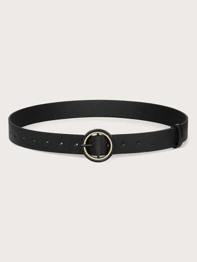 Solid Metallic Spiral Double Circle Buckle Belt - Black