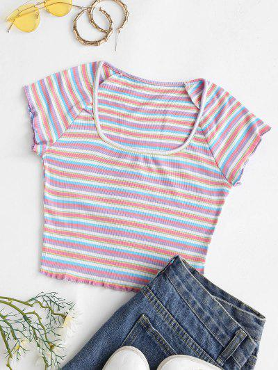 Rib-knit Colorful Striped Lettuce Trim Baby Tee - Multi S