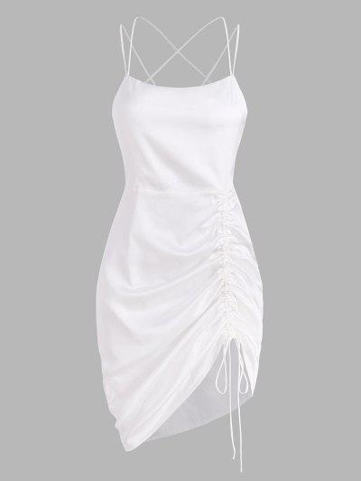 Silky Satin Cinched Ruched Crisscross Backless Slinky Dress - White L