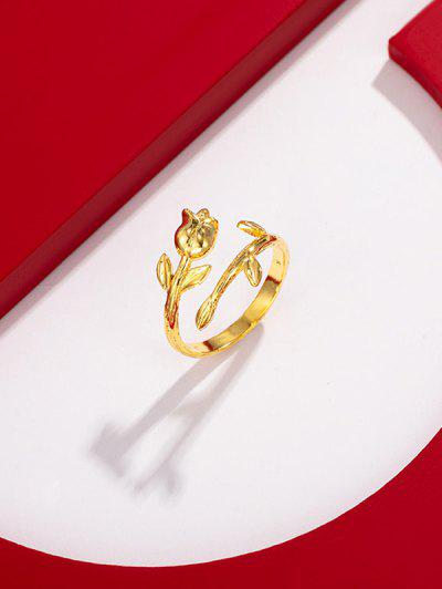 Rose Shape Gold Plated Open Ring - Golden