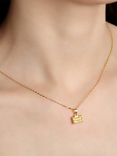 Retro Carved Lock Pendant Necklace - Golden