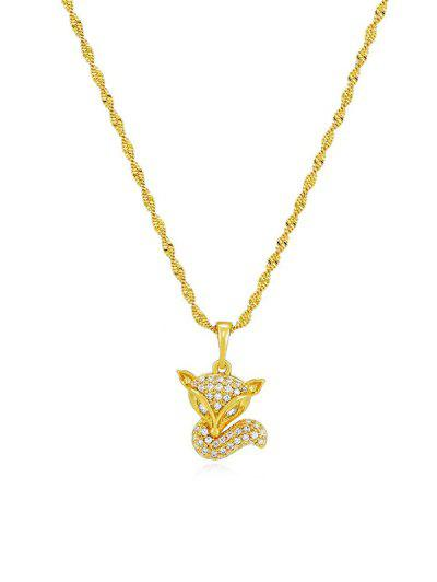 Zircon Fox Pendant Necklace - Golden