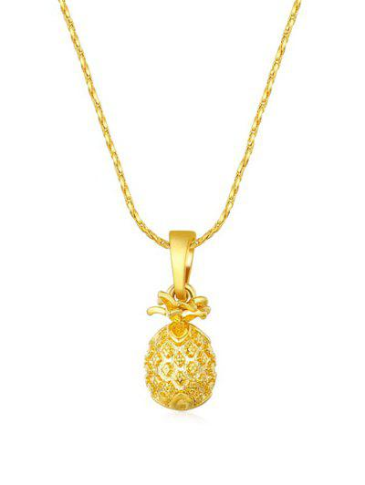 Carved Pineapple Pendant Necklace - Golden