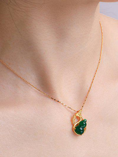Gourd Pendant Gold Plated Necklace - Golden