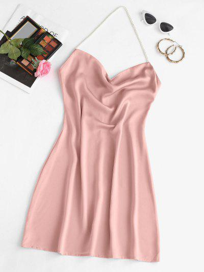 Faux Pearl Halter Mini Party Dress - Light Pink L