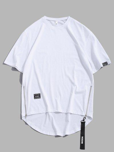 Zipper High Low Short Sleeve Drop Shoulder T-shirt - White L