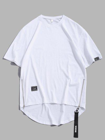 Zipper High Low Short Sleeve Drop Shoulder T-shirt - White M