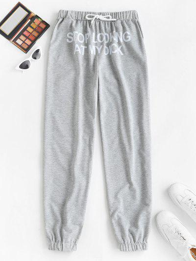 Slogan Graphic Pocket Drawstring Joggers Pants - Light Gray M