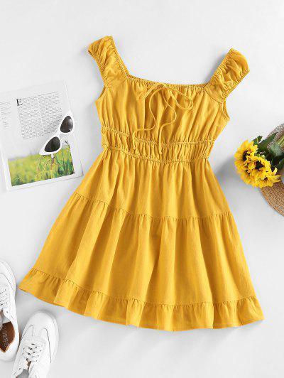 ZAFUL Ruched Tie Flounce Summer Dress - Deep Yellow S