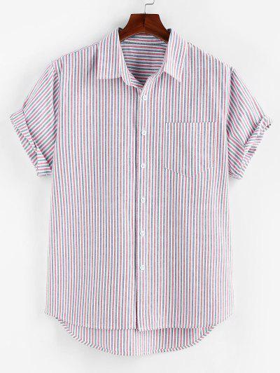 ZAFUL High Low Stripe Short Sleeve Shirt - Lilac S