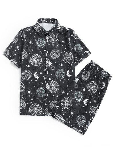 Sun Moon Star Print Shirt And Shorts Set - Black 2xl