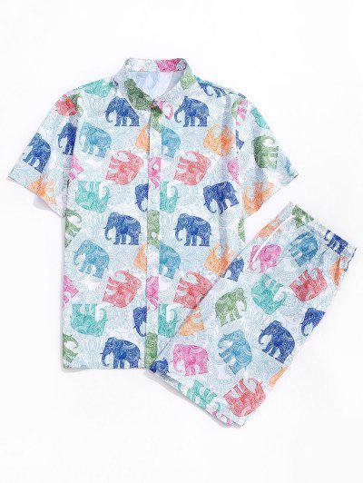 Bohemian Elephant Print Shirt And Shorts Set - White M