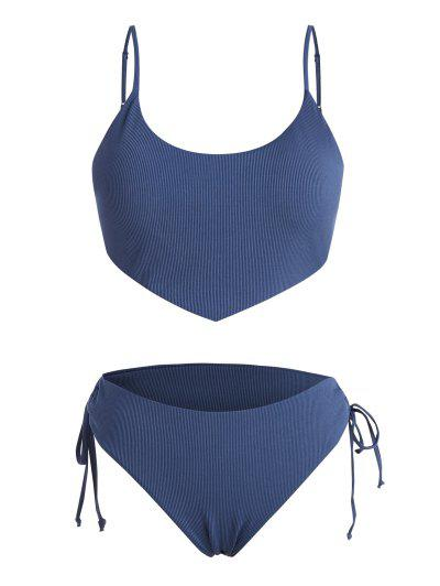 ZAFUL Plus Size Ribbed Tied Plain Bikini Swimwear - Blue Xxxxl