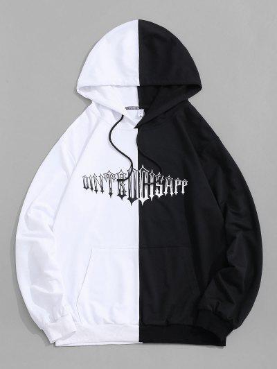 Zweifarbig Hoodie Mit Buchstabe Druck - Schwarz S