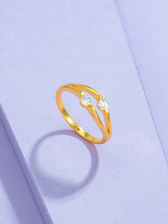 hot Double Zircon Inlaid Gold-Plated Split Shank Ring - GOLDEN US 8