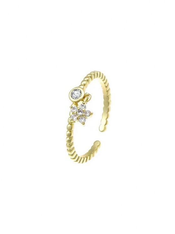 fashion Zircon Inlaid Star Plated Open Charm Ring - GOLDEN RESIZABLE