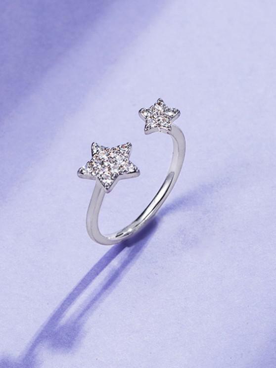 chic Rhinestone Inlaid Double Star Open Finger Ring - SILVER RESIZABLE