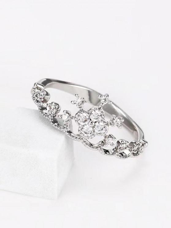 buy Crown Shape Rhinestone Ring - SILVER US 10