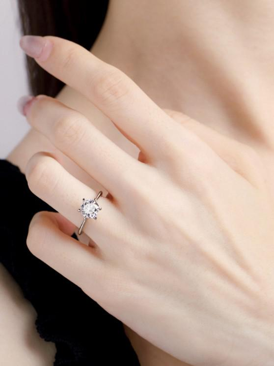 women Classic Zircon Inlaid Prong Setting Finger Ring - SILVER US 7