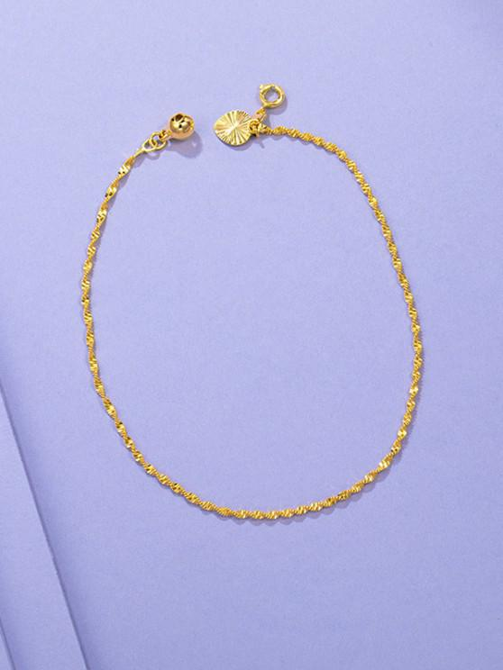 shop Golden Twist Chain Plated Bell Teardrop Charm Anklet - GOLDEN