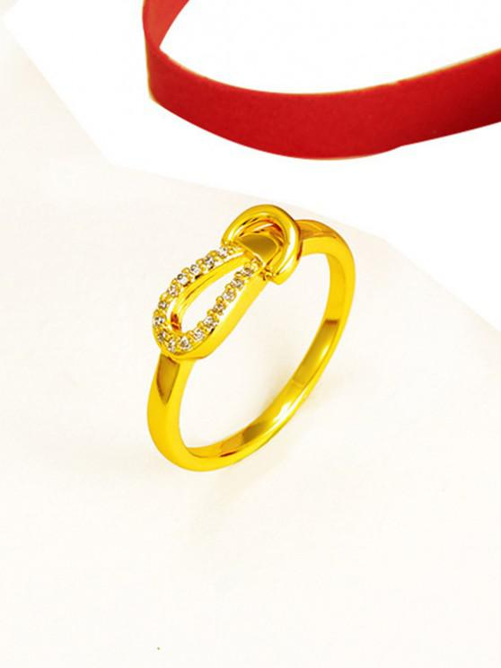 outfit Zircon Inlaid Plated Knot Finger Ring - GOLDEN US 11
