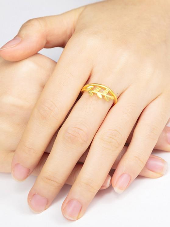 Blatt Verstellbarer Vergoldeter Ring mit Drei Schichten - Golden RESIZABLE