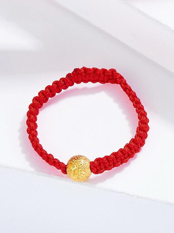 chic Crochet Textured Plated Golden Ball Ring - RED US 6