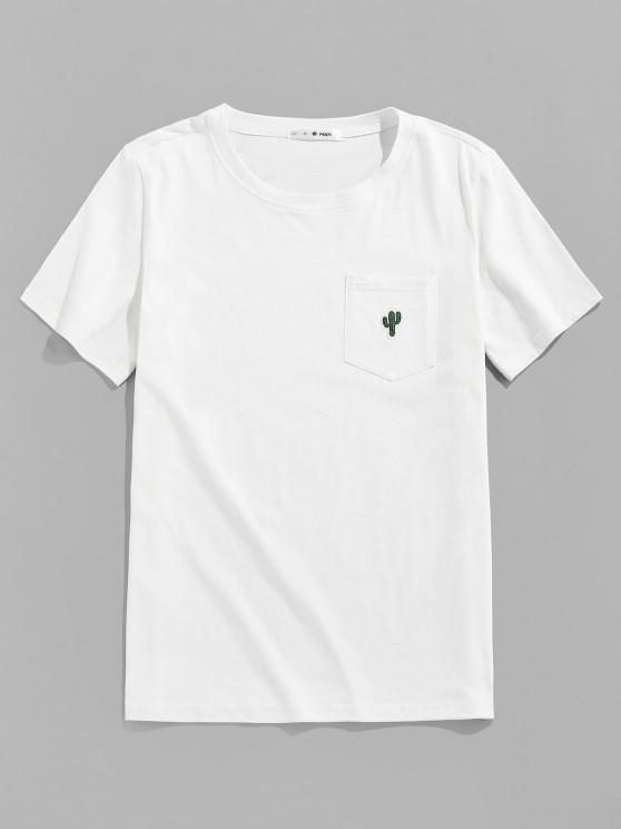 ZAFUL Pocket Cactus Embroidery T Shirt - أبيض S